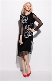 Black Floral Print Long Sleeve Chiffon Overlay Dress