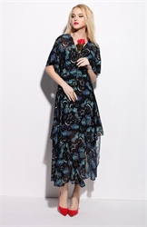 Casual Summer V Neck Floral Print Flutter Sleeve Maxi Dress