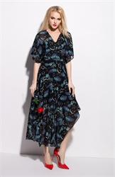 Casual Summer V Neck Floral Print Flutter Sleeve Maxi Dress