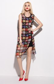 Multi Coloured Sleeveless Floral Print Chiffon Overlay Dress