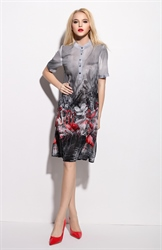 Grey Floral Print Chiffon Shirt Dress With Short Sleeves