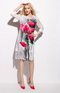 White V Neck Floral Print Summer Dress With 3/4 Length Sleeve