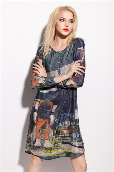 Vintage Style Floral Print Knee Length Dress With Long Sleeves