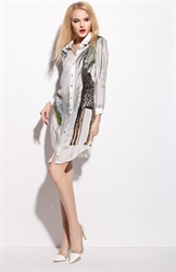 White Animal Print Chiffon Shirt Dress With Long Sleeve