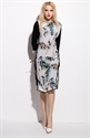 Vintage Style Black And White Floral Print 3/4 Sleeve Dress