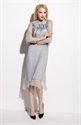 Grey Tea Length Sheer Overlay Dresses With Long Sleeves