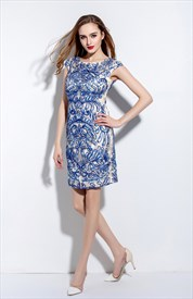 Women's Casual Blue Embroidered Sheath Dress With Cap Sleeve