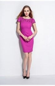 Violet Hollow Out Knee Length Chiffon Dress With Cap Sleeves