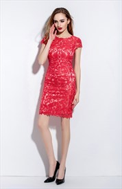 Red Illusion Neckline Lace Overlay Dress With Cap Sleeves