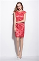 Red Illusion Neckline Floral Embroidered Tulle Dress With Sleeves