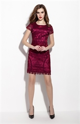 Burgundy Lace Sheath Knee Length Dress With Cap Sleeves