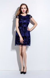 Navy Blue Embroidered Lace Overlay Dress With Cap Sleeve