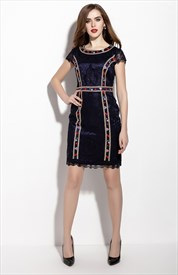 Navy Blue Embellished Cap Sleeve Sheath Cocktail Dress