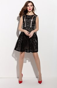 Black Sleeveless Lace Overlay Short Cocktail Dress