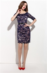 Navy Blue Lace Overlay Cocktail Dress With Half Sleeves