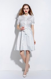 White Polka Dot Short Sleeve A Line Dress With Belt