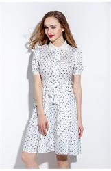 White Polka Dot Short Sleeve A Line Dress With Belt