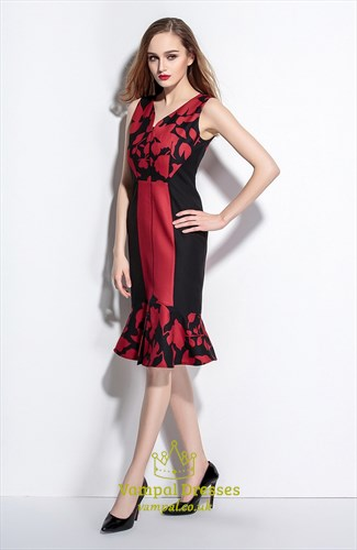 Black And Red V Neck Sleeveless Floral Print Sheath Dress