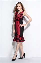 Black And Red V Neck Sleeveless Floral Print Sheath Dress