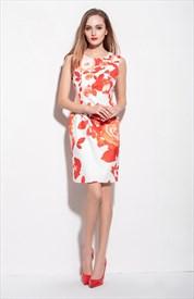 White Sleeveless Orange Floral Print Knee Length Summer Dress