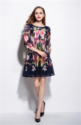 Navy Blue Ruched Bodice Floral Print Dress With 3/4 Sleeves