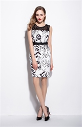 Black And White Lace Illusion Neckline Floral Print Dress