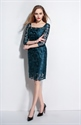 Midnight Green Square Neck Sheath Dress With 3/4 Sleeves