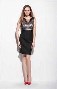 Black Lace Bodice Sleeveless Knee Length Sheath Dress