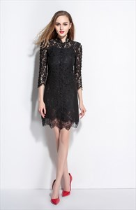 Black Lace High Neck A-Line Dress With 3/4 Sleeves