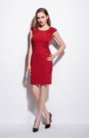 Red Cap Sleeve Knee Length Sheath Dress With Flower Applique