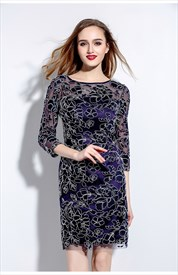 Navy Blue Embroidered Lace Overlay Sheath Dress With Sleeves
