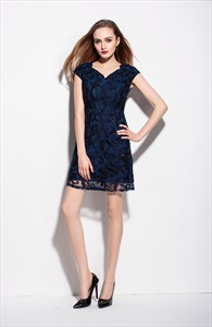 Navy Blue V Neck Embroidered Overlay Cocktail Dress With Sleeve