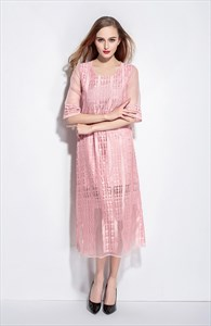 Pink Lace Overlay Tea Length Dresses With Sleeves
