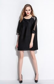 Casual Black Square Neckline Hollow Out Loose Dress