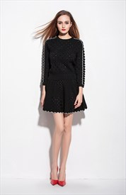 Black Two Piece Short Wool Dress With Long Sleeve