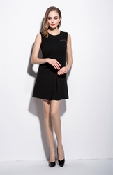 Women's Casual Simple Black Short Sleeveless A-Line Dress