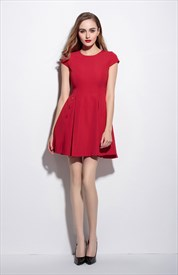 Red Short Fit And Flare Skater Dress With Cap Sleeves