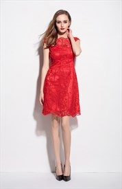 Red Illusion Neckline Embroidered Sheer Overlay Dress