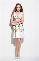 White Floral Print V Neck Sleeveless Summer Dress