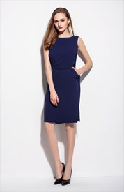 Simple Navy Blue Sleeveless Short Dress With Belt