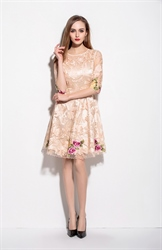 Champagne Lace Illusion Neckline Embroidered Overlay Cocktail Dress