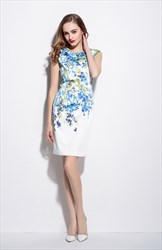 White Sleeveless Blue Floral Print Knee Length Summer Dress