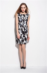 Black And White Sleeveless Floral Print Summer Dress
