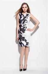 Black And White Sleeveless Knee Length Feather Print Dress