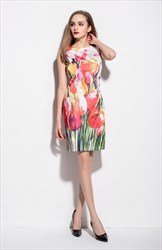 Casual Summer White Sleeveless Tulip Floral Print Sheath Dress