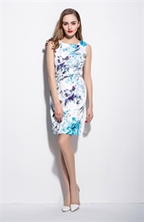 Casual White Sleeveless Floral Print Summer Sheath Dresses