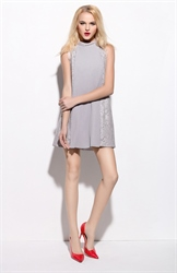 Grey Lace Embellished Sleeveless Short Cocktail Dress