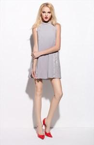 Grey Lace Embellished Sleeveless Short Cocktail Dress