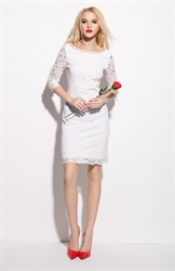 White Lace Knee Length Sheath Dress With 3/4 Length Sleeve