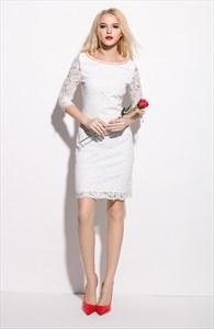 White Lace Knee Length Sheath Dress With 3/4 Length Sleeve